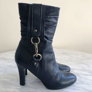Coach Torree Black Leather Heeled Boots